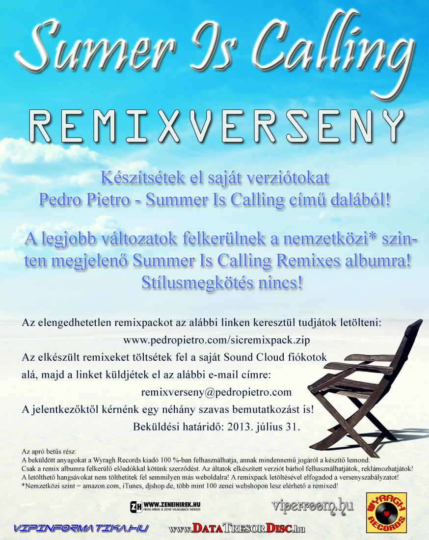 Summer Is Calling - Remixverseny flyer 2013.