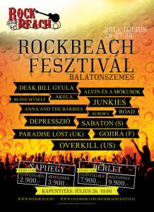 Rock Beach Fesztivál plakát.
