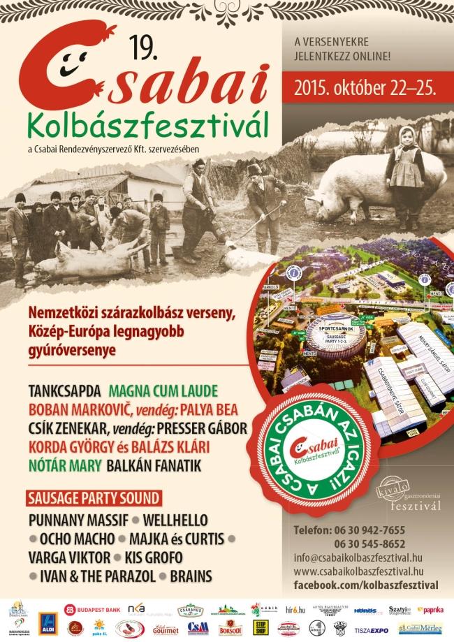 A Csabai Kolbászfesztivál 2015-ös plakátja.